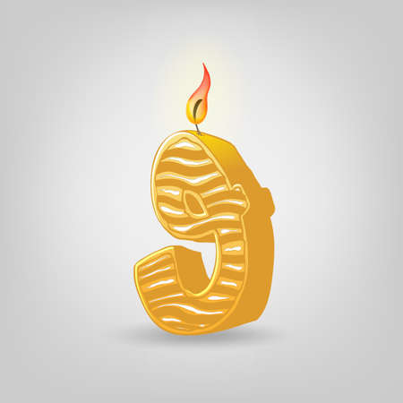 Colored candles for the holiday. Hand-drawn vector illustration. Number nine