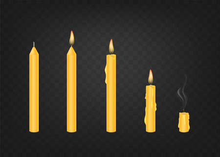 Candle in various conditions. Vector illustration on a transparent background.EPS 10 Ilustração