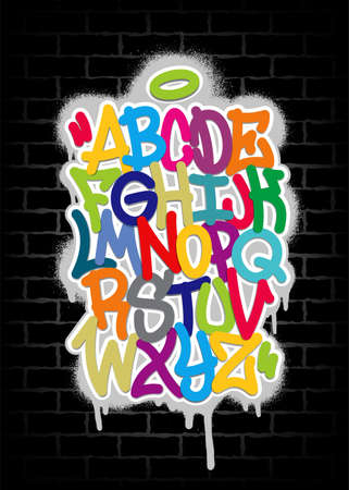 Handwritten graffiti font alphabet. Multicolored alphabet on a black brick wall background. Vector illustration