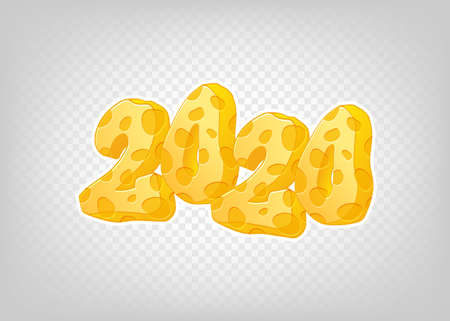 Happy new 2020 year. Vector holiday illustration. Hand drawn numbers with cheese texture on transparent background. Vector template for your design