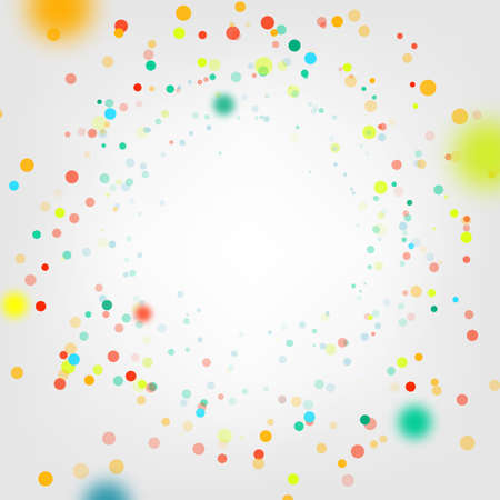Celebration background with confetti. Holiday illustration with flying circle colorful particles of paper on white background