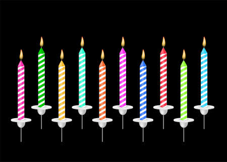 Colored candles for the holiday. Vector illustration on black background