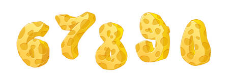 Cheese numbers part 1. Hand drawn numbers with cheese texture on white background. Vector set Ilustrace