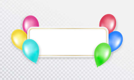 Colorful balloons with a banner for text on a transparent background. Vector illustration