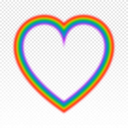 Bright rainbow in heart shape. Vector illustration on transparent background.
