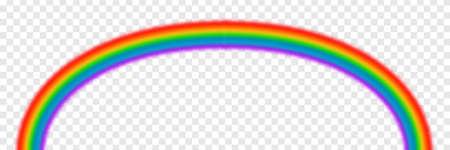 Bright arched rainbow illustration on transparent background. Vector illustration