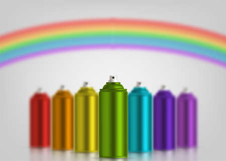 Metallic cans of spray paint in various colors. Colors of rainbow. Vector illustration