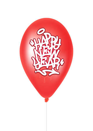Red balloon with the inscription happy new year. Vector illustration