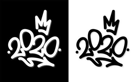 Sprayed 2020 tag graffiti with overspray in black over white. Vector illustration.