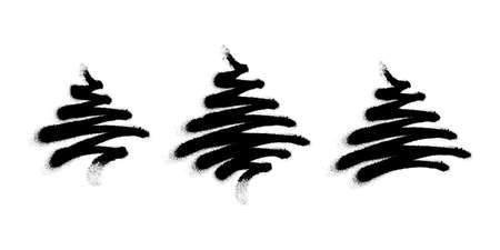 Sprayed tree silhouettes. Christmas tree vector illustration with overspray in black over white. Иллюстрация