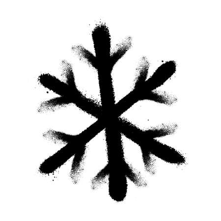 Sprayed snowflakes with overspray in black over white. Vector illustration. Иллюстрация