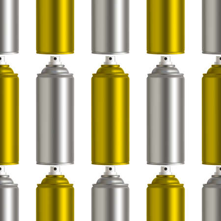 Golden and silver graffiti spray can on white bsckground. Vector seamless pattern EPS 10