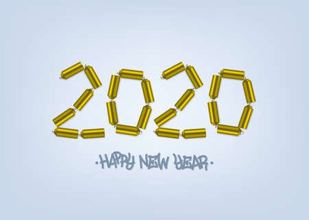 Happy New 2020 Year. Holiday vector illustration of golden spray cans 2020. Festive poster or banner design. Vector illustration