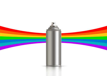 Metallic can of spray paint with rainbow on background. Vector illustration Standard-Bild - 133981963