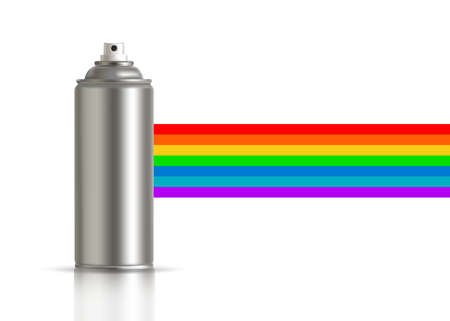 Metallic can of spray paint with rainbow on background. Vector illustration Standard-Bild - 133981964