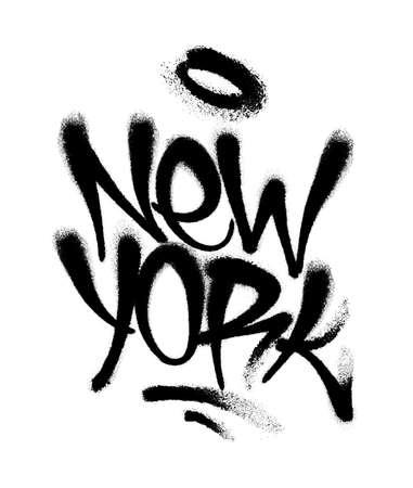 Sprayed New York font graffiti with overspray in black over white. Vector illustration. Иллюстрация