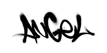 Sprayed angel font graffiti with overspray in black over white. Vector illustration.