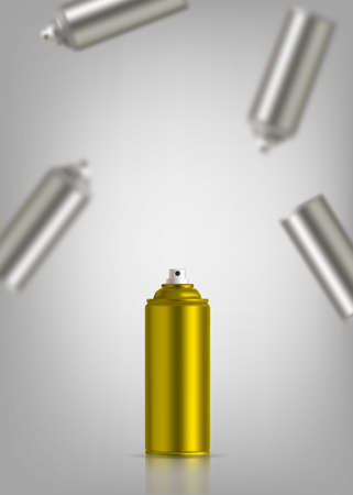 Golden and blurry silver graffiti spray can. Vector illustration with reflect and shadow.