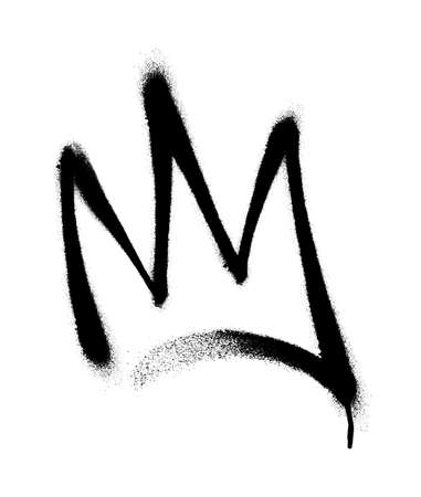 Sprayed crown with overspray in black over white. Vector illustration. Иллюстрация