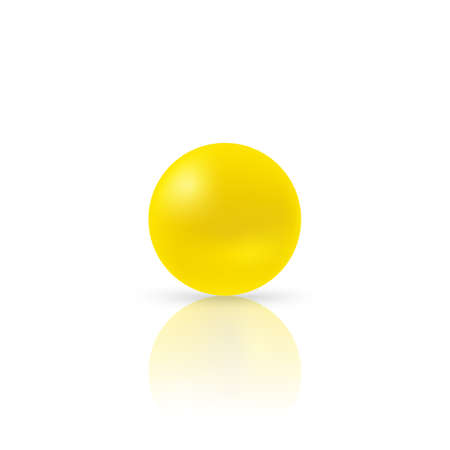 Yellow dragee pills on white background. Vector illustration with shadow and reflect