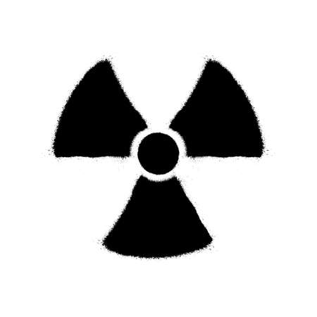 Radioactive contamination symbol. Vector illustration in graffiti style with overspray in black over white.