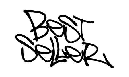 Sprayed best seller font graffiti with overspray in black over white. Vector illustration. Иллюстрация