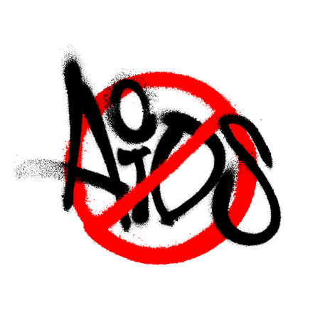 Sprayed stop aids font graffiti with overspray in black over white. Vector illustration.