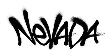 Sprayed Washington font graffiti with overspray in black over white. Vector illustration.