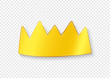 Golden crown with shadow on a transparent background. Vector illustration. Ilustrace