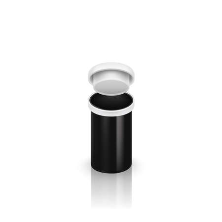 Open blank black pills container without label isolated on white background. Vector illustration 10 Illustration