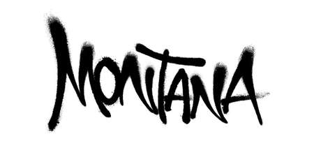 Sprayed Montana font graffiti with overspray in black over white. Vector illustration.