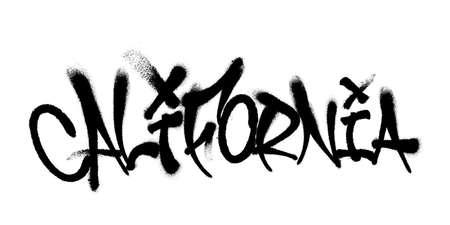 Sprayed Wyoming font graffiti with overspray in black over white. Vector graffiti art illustration.