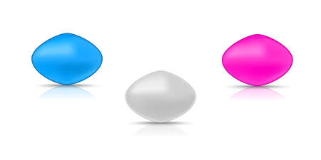 Three active pills for erection. Pink, blue and gray tablets.Vector illustration with shadow and reflection on white background.