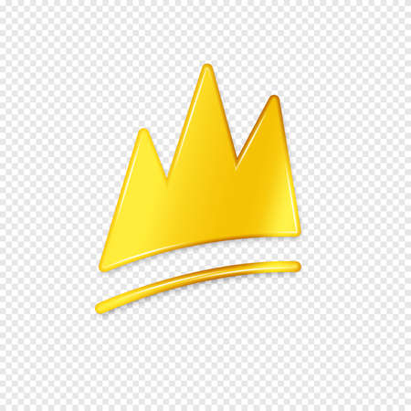 Golden crown with shadow on a transparent background. Vector illustration. Иллюстрация