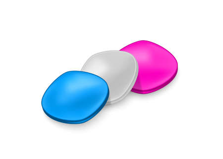 Three active pills for erection. Pink, blue and gray tablets.Vector illustration with shadow on white background.