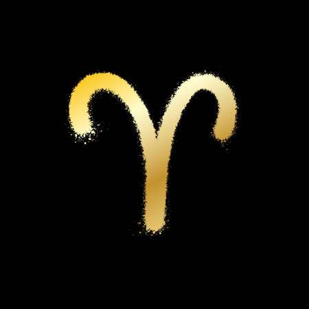 Aries zodiac sign. Gold paint sprayed icon. Vector illustration