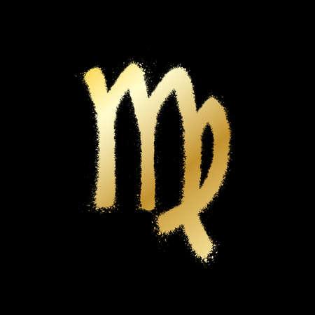Virgo zodiac sign. Gold paint sprayed icon. Vector illustration Vetores