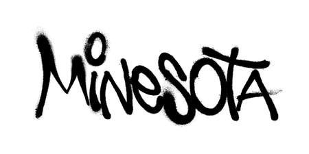 Sprayed Minesota font graffiti with overspray in black over white. Vector graffiti art illustration.