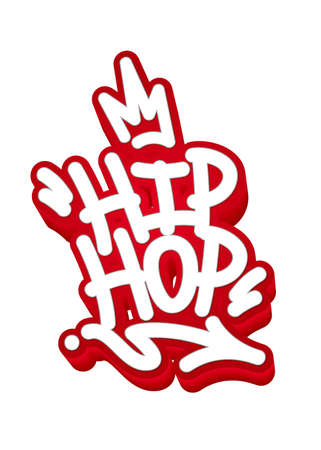 Hip Hop Tag Graffiti Style Label Lettering. Vector Illustration