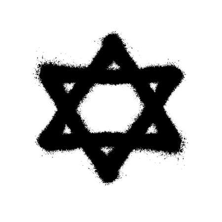Symbol of the Star of David. Vector illustration in graffiti style with overspray in black over white. Çizim