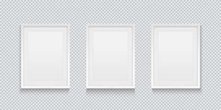 Three realistic white picture or photo frame isolated on transparent background. Vector illustration.