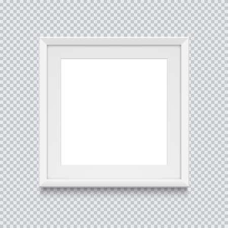 Cadre photo ou photo carré blanc réaliste isolé sur fond transparent. Illustration vectorielle. Vecteurs