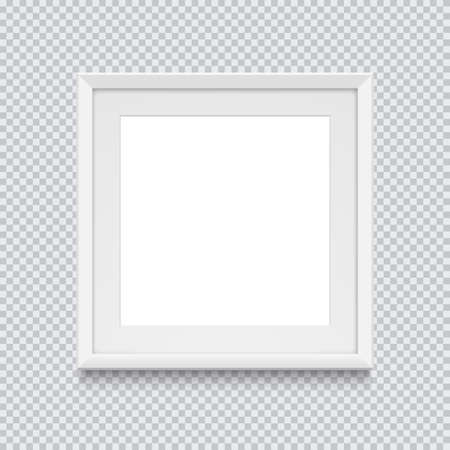 Realistic white square picture or photo frame isolated on transparent background. Vector illustration.