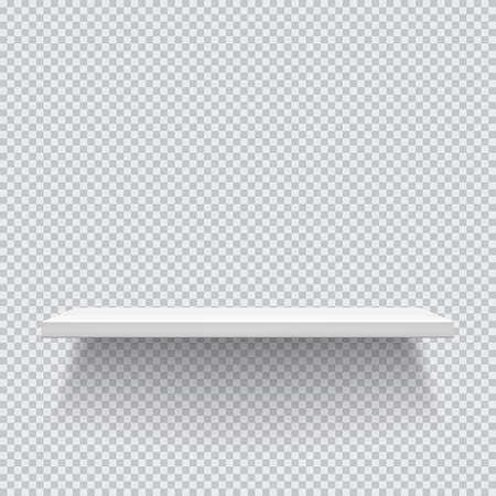 White wooden shelves. Template for your projects. Vector illustration on transparent background EPS 10