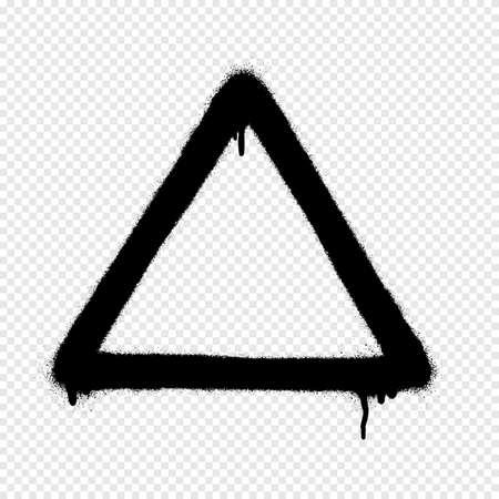Banner de spray de graffiti triangular. Marco de pintura en aerosol gráfico sobre fondo transparente Ilustración de vector