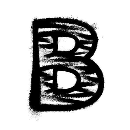 Letter B. Graffiti alphabet with spray lines and overspray. Vector illustration Eps 10 Ilustrace