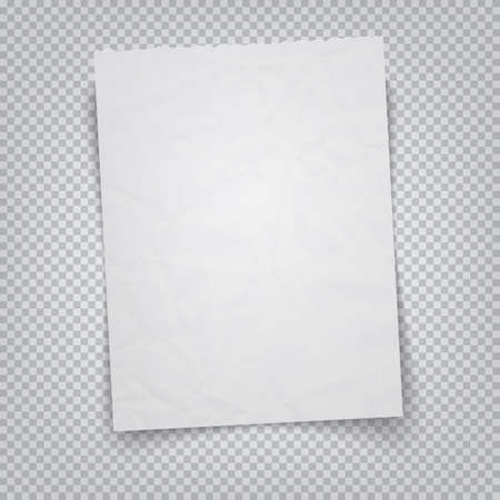 White sheet of paper on a transparent background. Vector illustration realistic A4 sheet with tear-off place Illustration