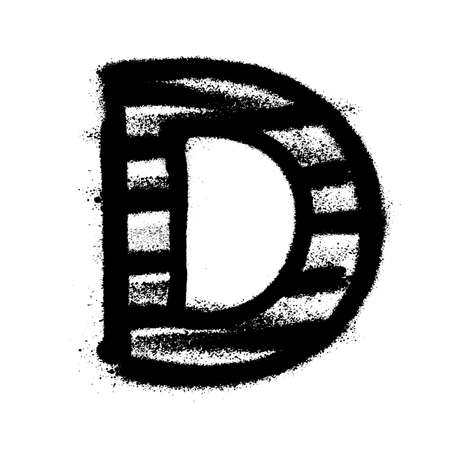 Letter D. Graffiti alphabet with spray lines and overspray. Vector illustration Ilustrace