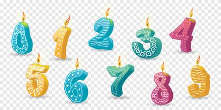Set of colored candles for the holiday. Hand-drawn vector illustration. Digits on transparent background Векторная Иллюстрация