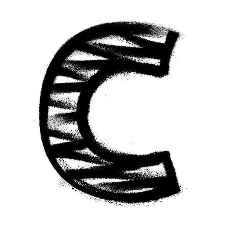 Letter C. Graffiti alphabet with spray lines and overspray. Vector illustration
